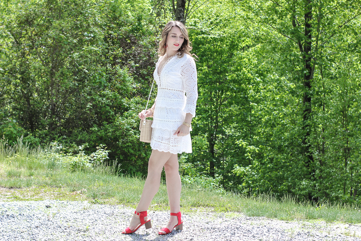 Chicwish white eyelet dress with red block heel sandals