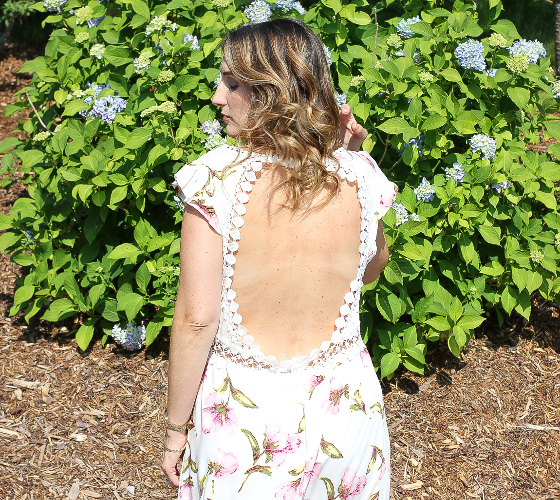 Chicwish Peach Blossom Dress with Open Back and High Low Hem
