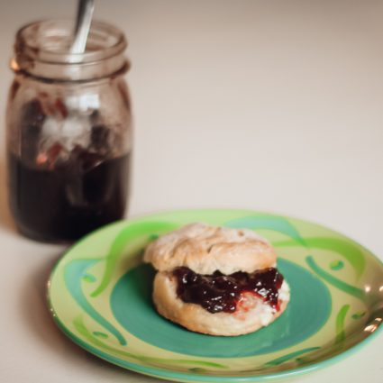 Concord Grape Jelly on Biscuit