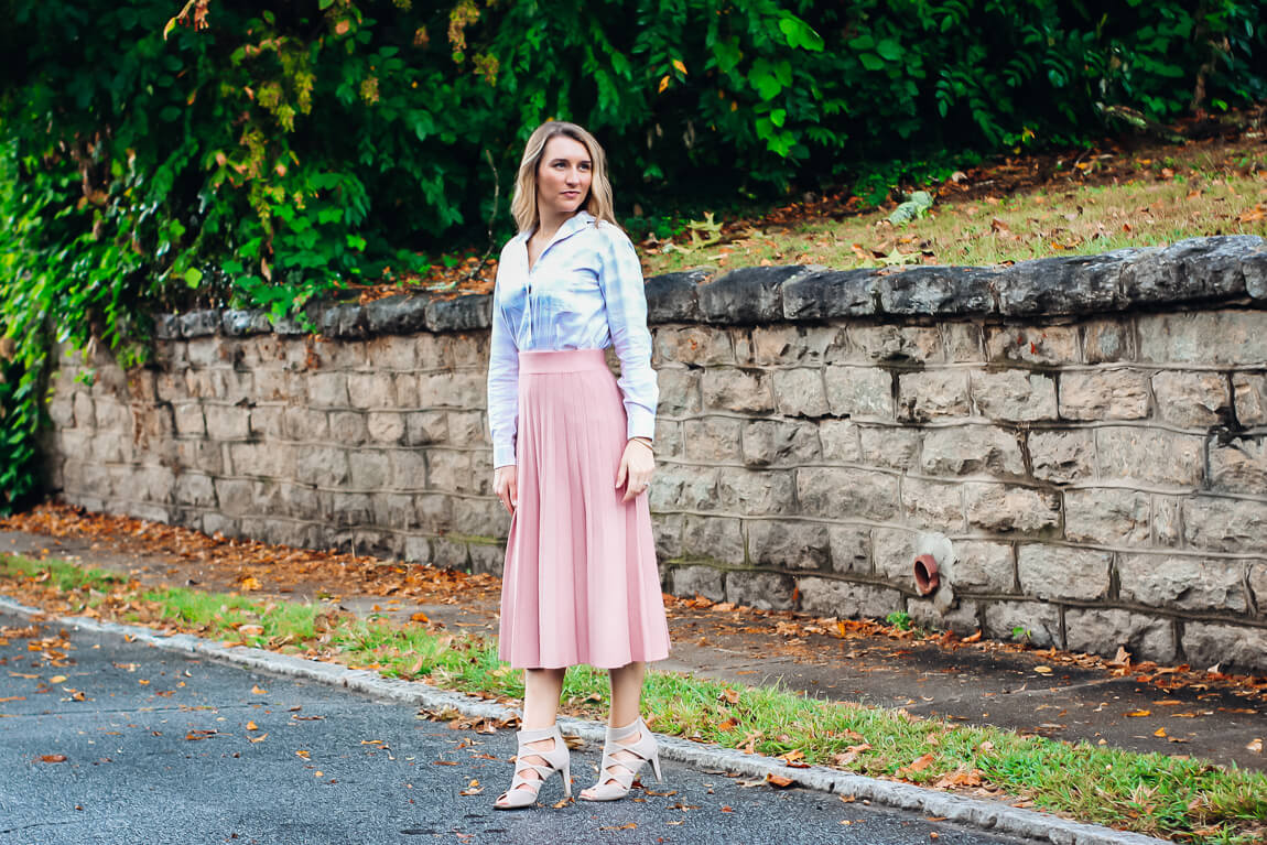 Pink Pleated Midi Skirt with Plaid Blouse