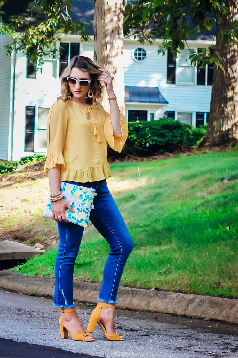 How to Style Yellow Heels and Jeans