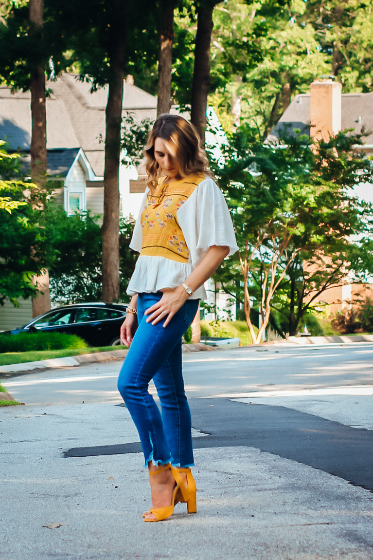 How to Style Yellow Heels with Embroidered Top