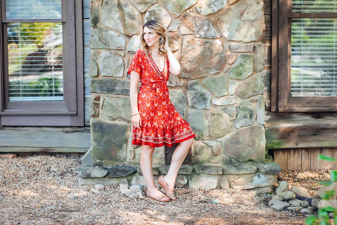 Amazon Red Wrap Dress