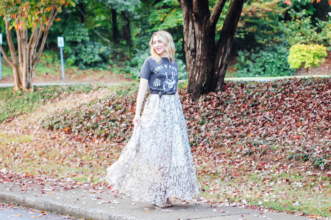 Edgy Rocker Chic with Snakeskin Skirt and Guns and Roses Tee