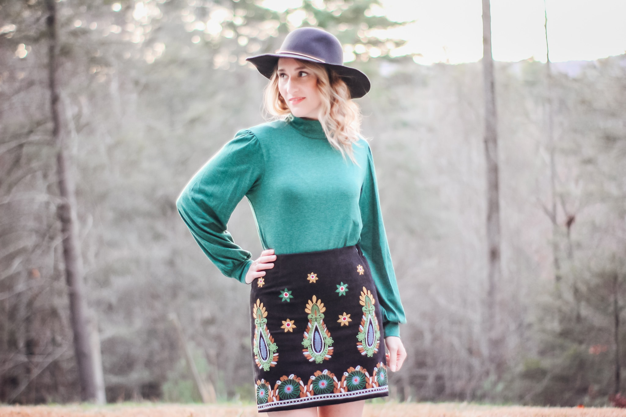 Boho Embroidered Skirt with Button Detail Blouse