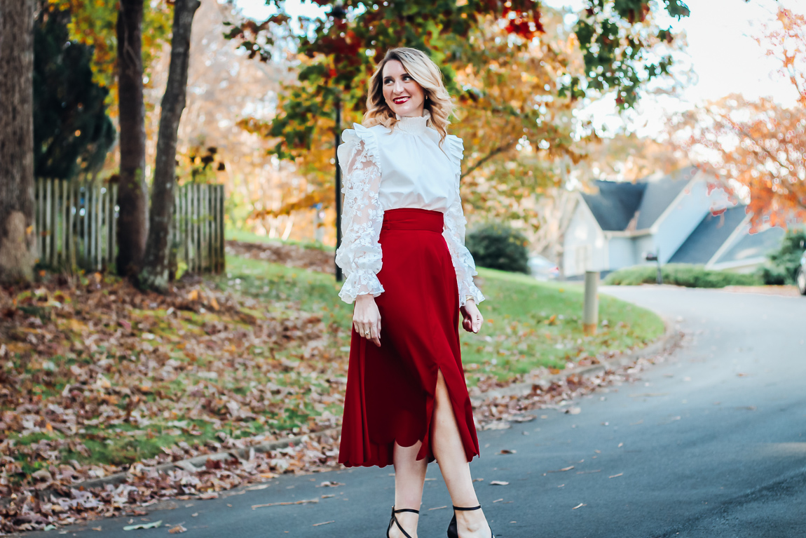 Victorian White Lace Top and Red Skirt