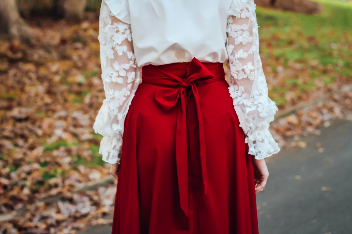 Victorian White Lace Top and Red Skirt Details