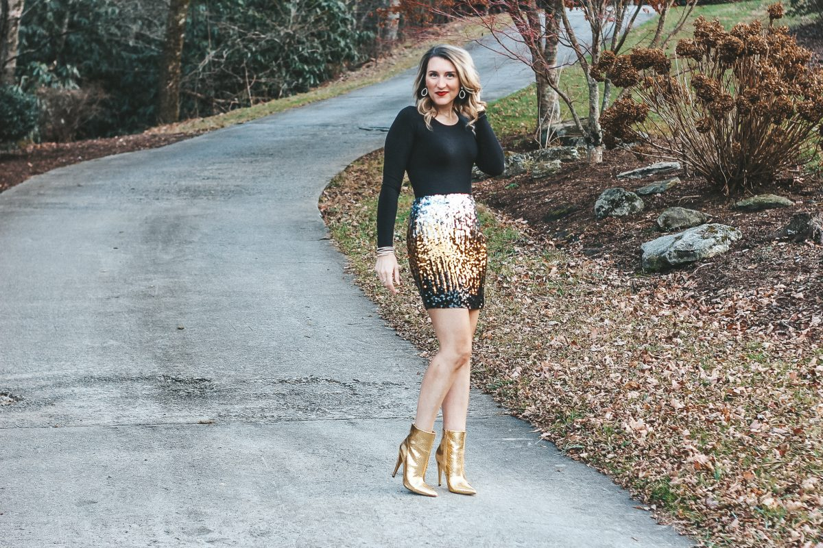 New Years Eve Sequin Skirt and Gold Boots Laura Mintz Asheville NC Life + Style Blog