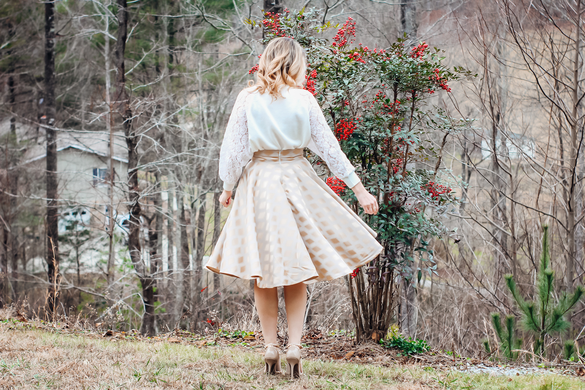 Classic A-Line Skirt with Gold Accents Laura Mintz Asheville NC twirling