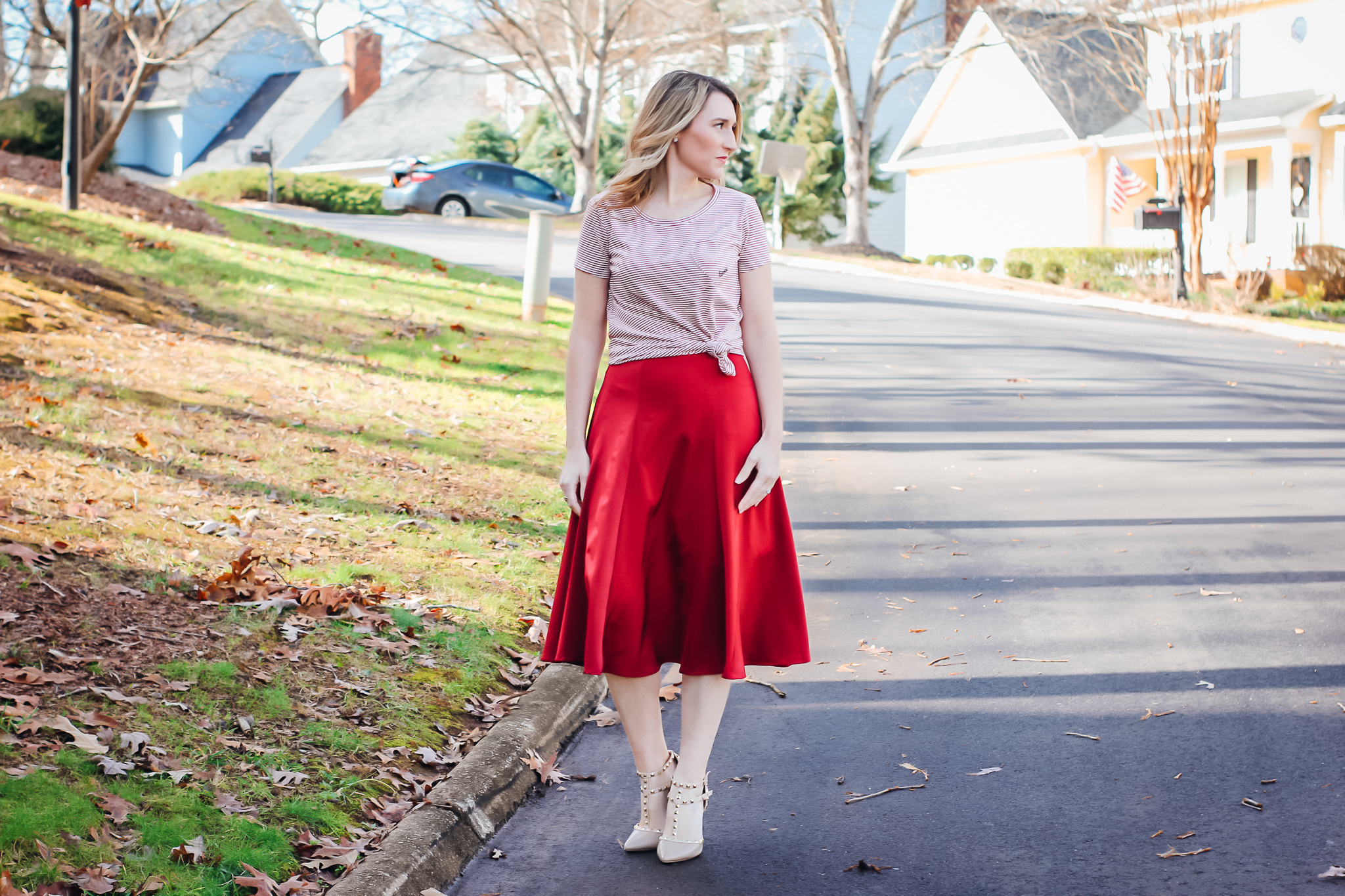 Red Satin Midi Skirt with Graphic Love Tee