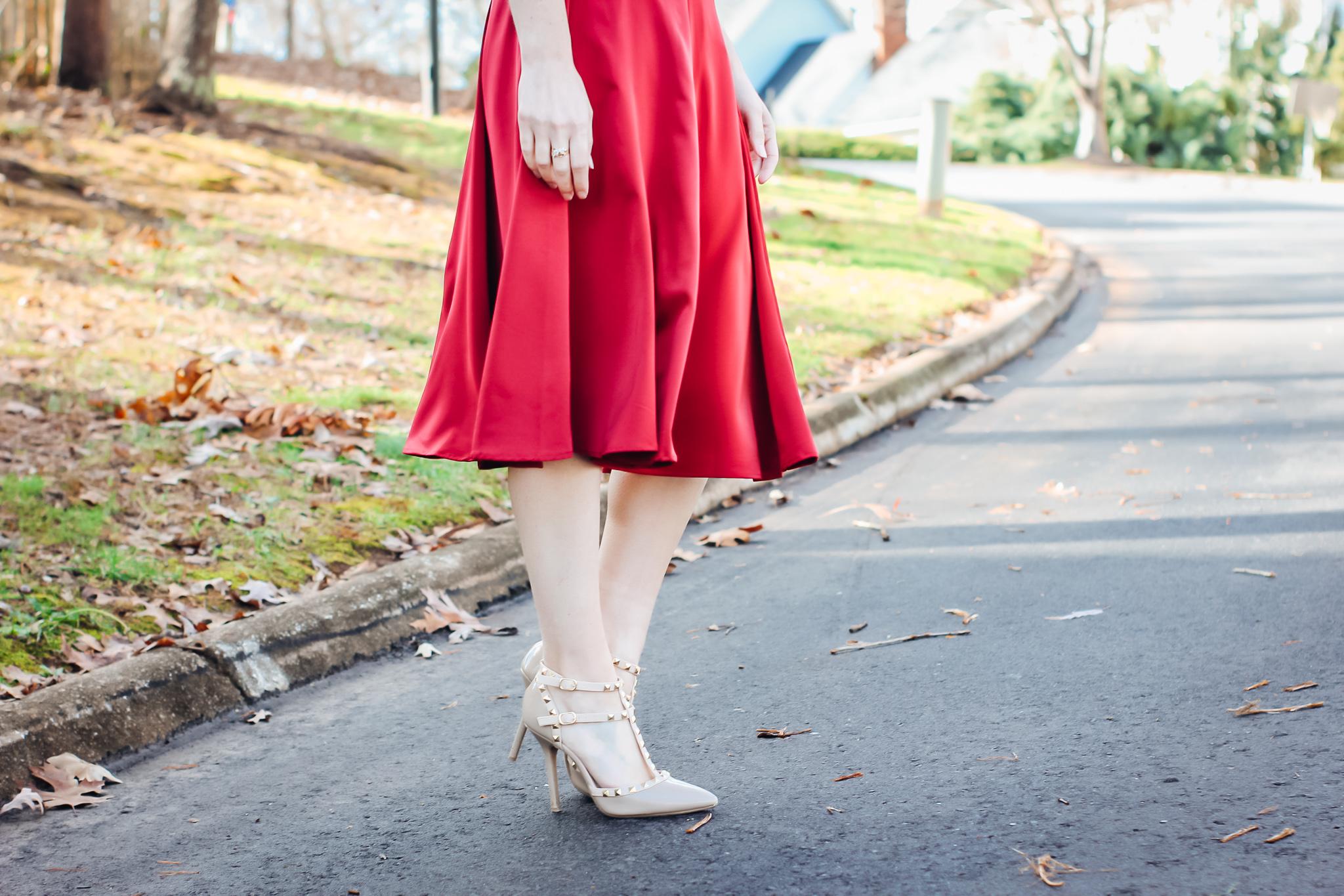 Red Satin Midi Skirt Close Up View
