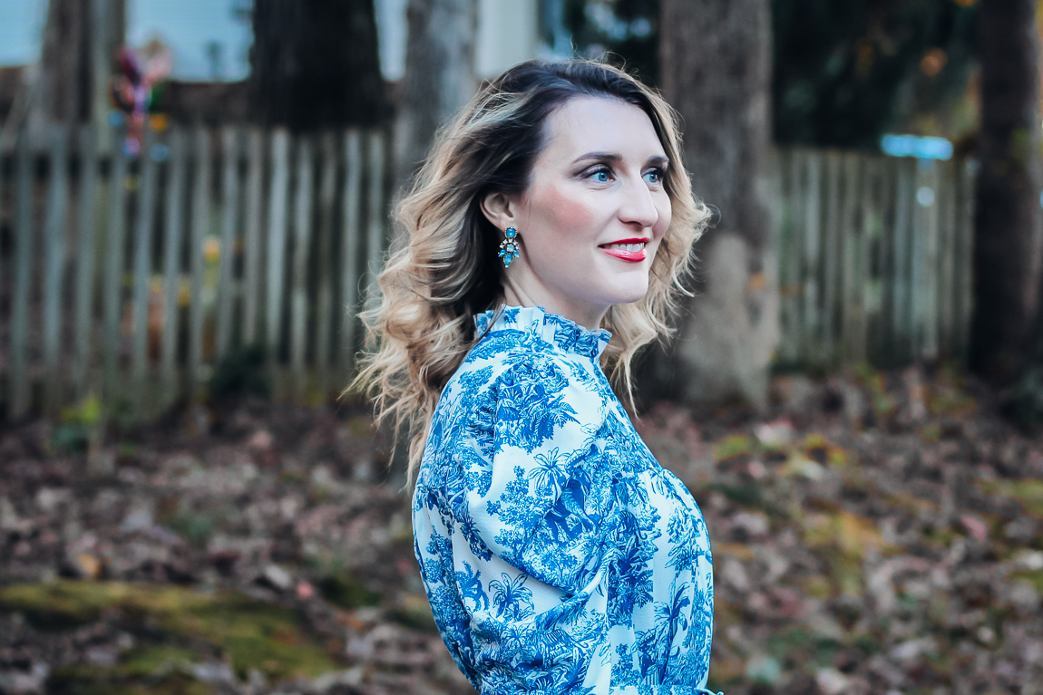 Puff Sleeve Toile Dress Under $20 with statement earrings