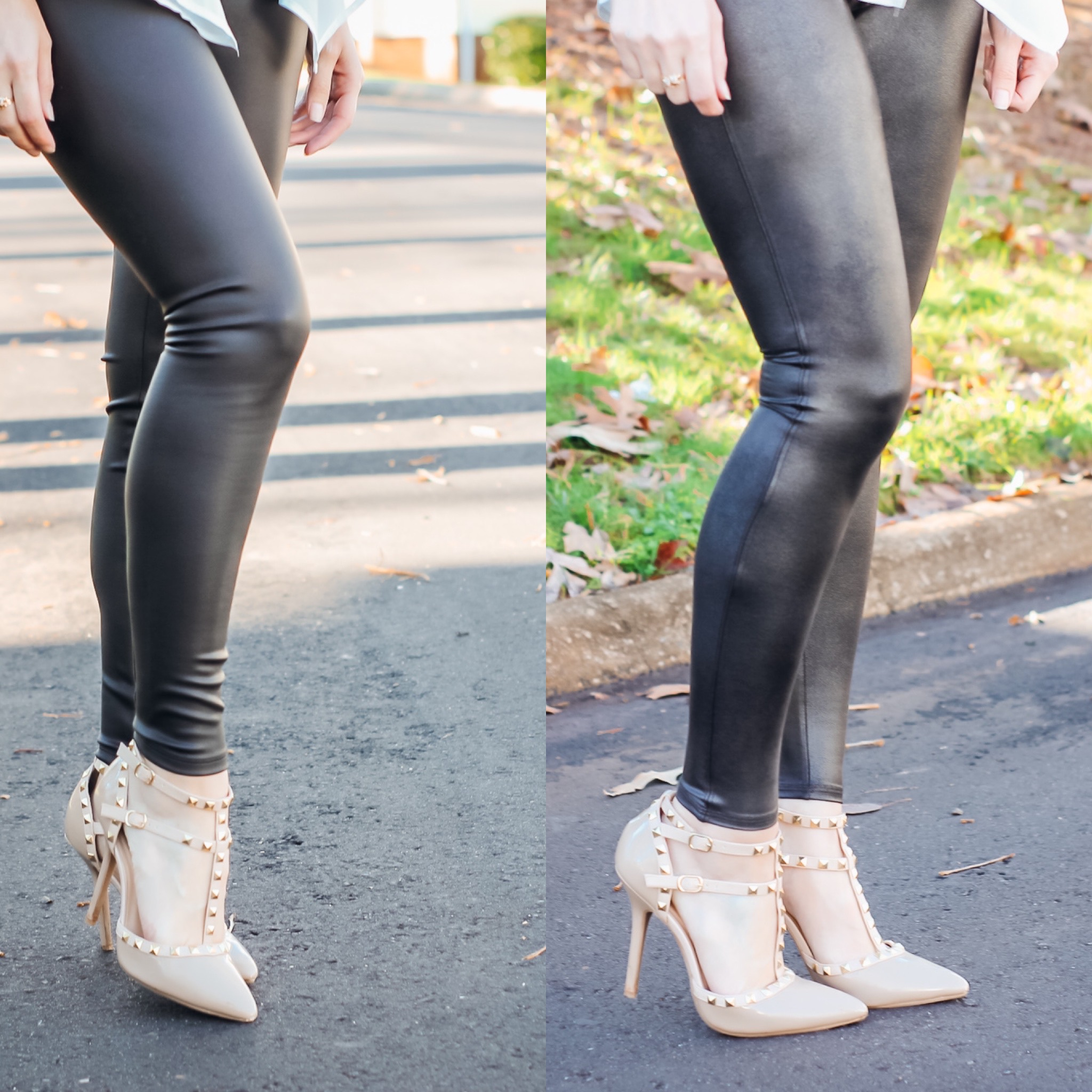 Spanx Faux Leather Leggings vs Express Vegan Leather Leggings Side by Side View