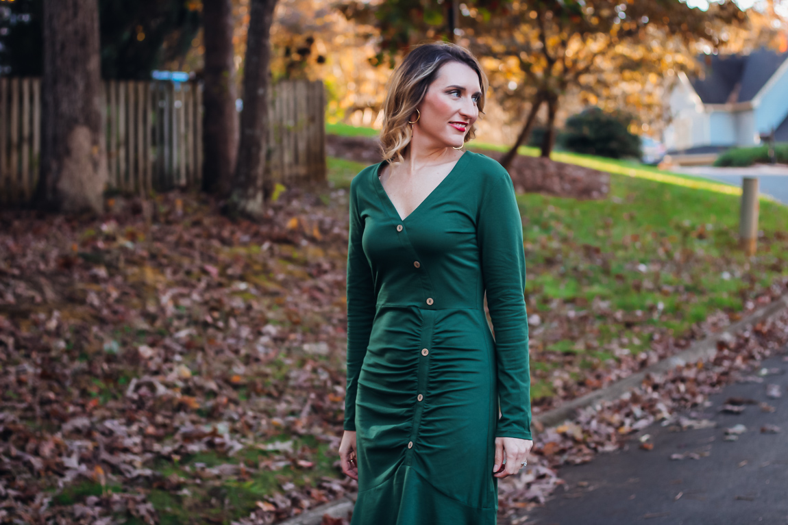 St. Patrick's Day Outfit-green button front dress
