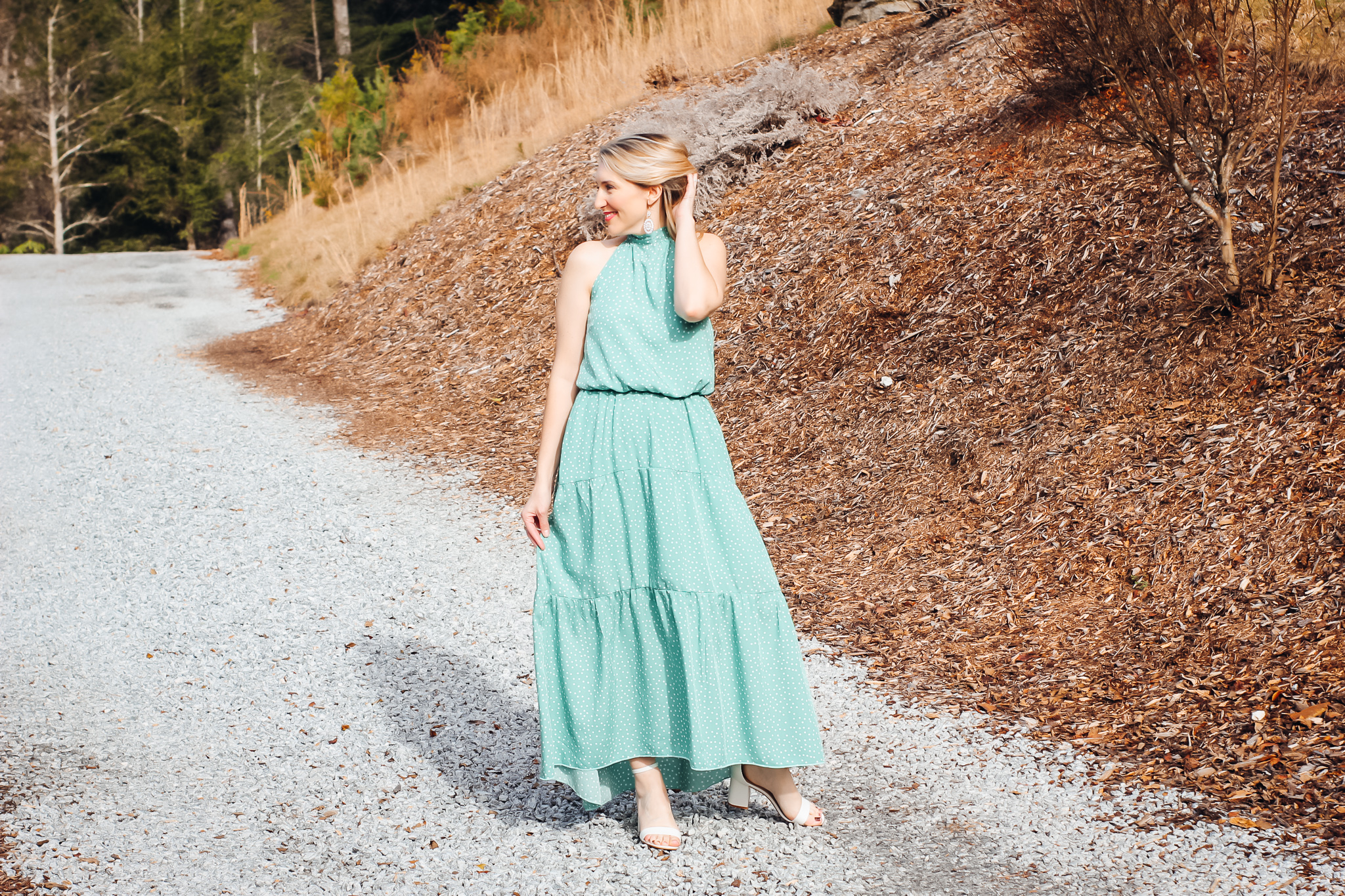 St. Patrick's Day Outfit-green halter maxi