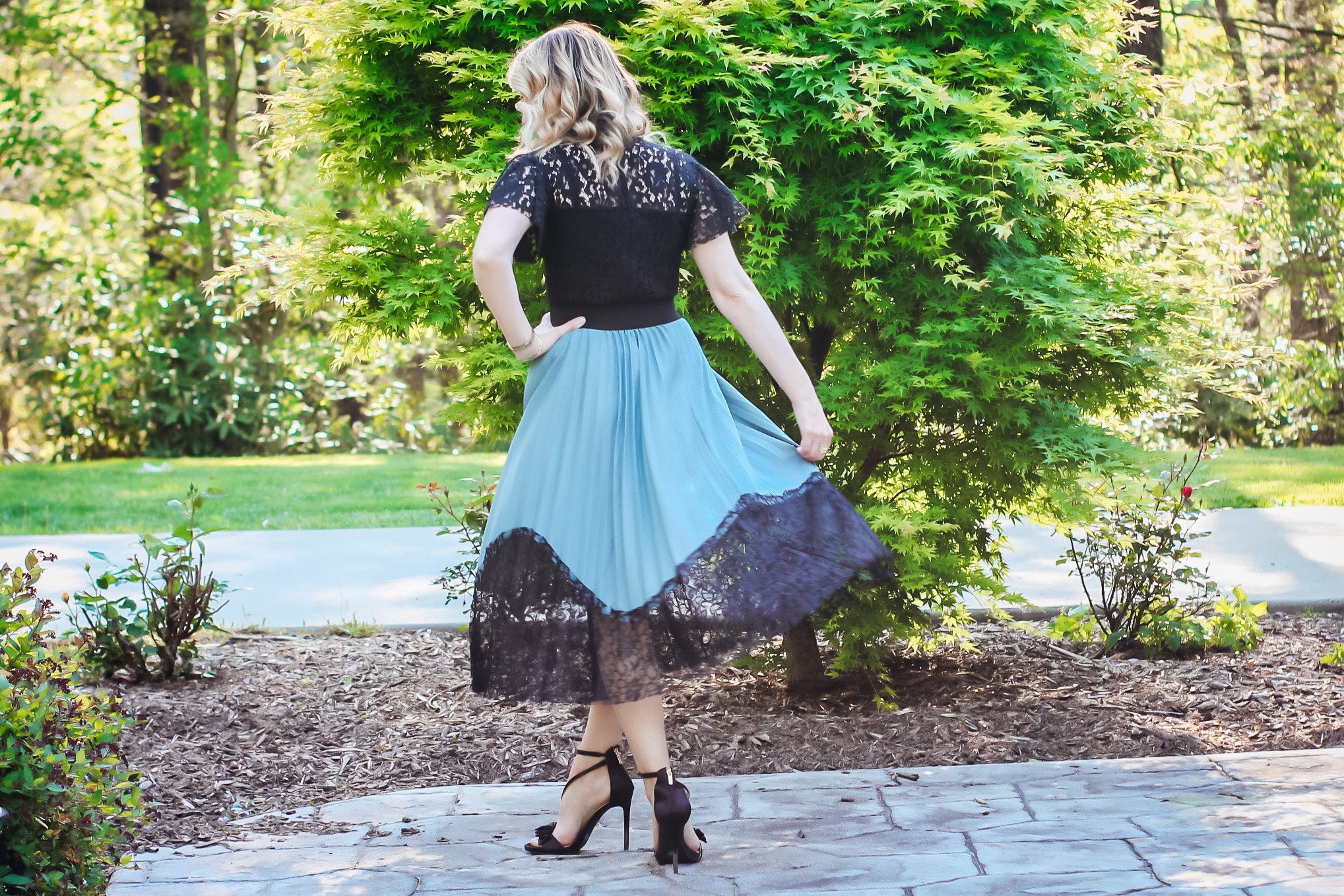 Dusty Blue and Black Lace Midi Skirts
