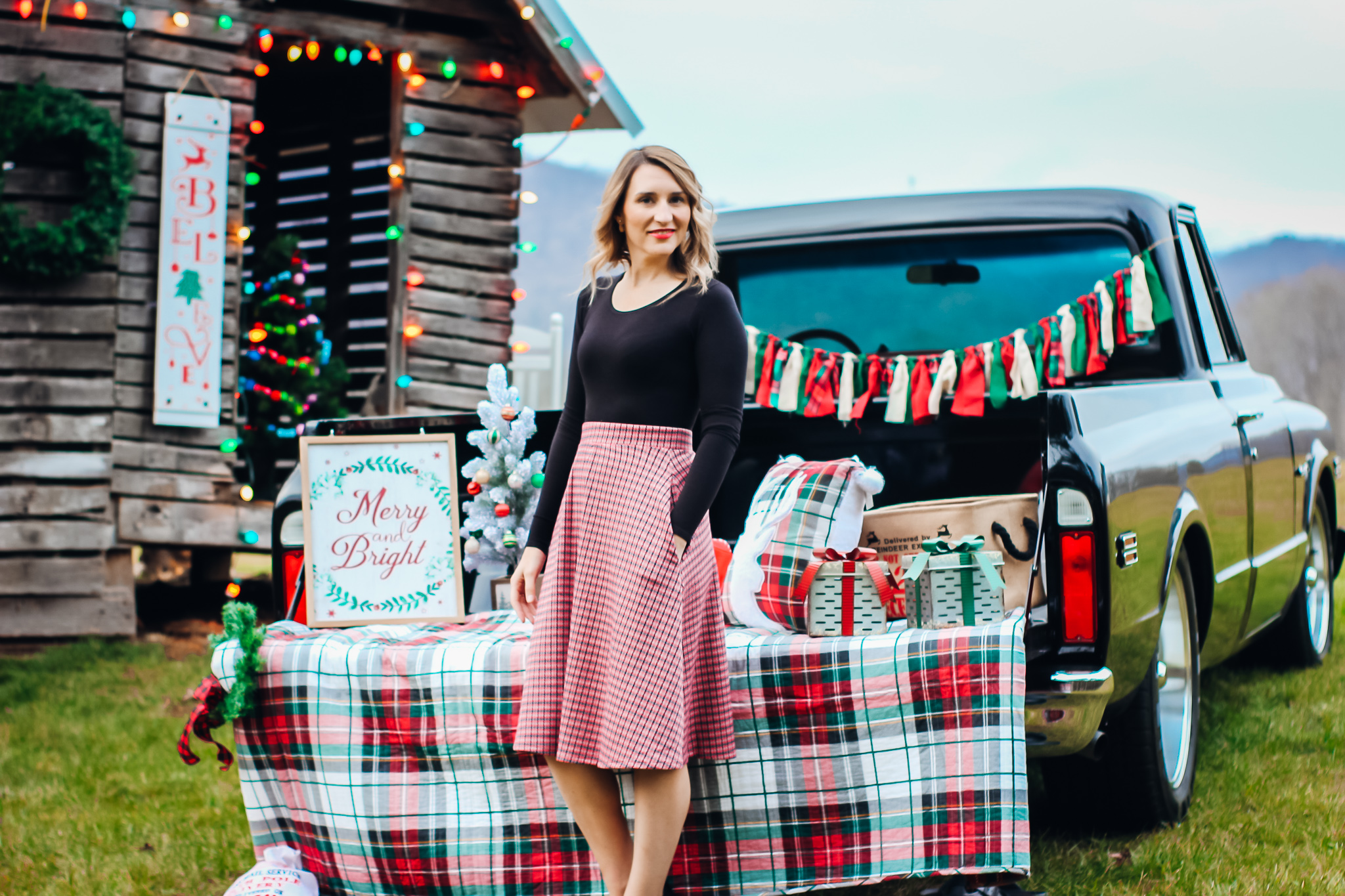 Laura Mintz-Affordable Holiday Looks-Red Plaid Skirt