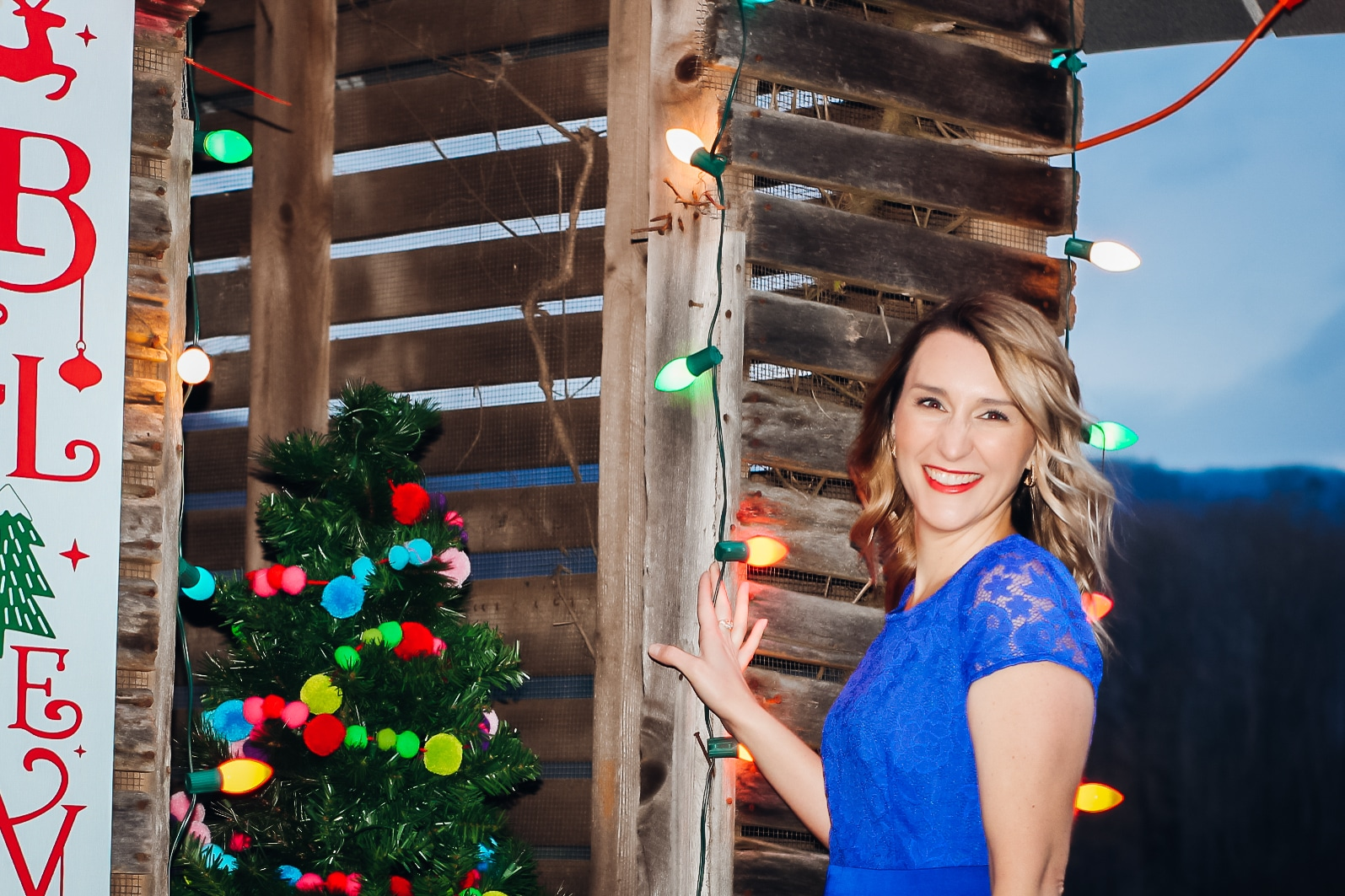 Laura Mintz-Affordable Holiday Looks-Blue Lace Dress