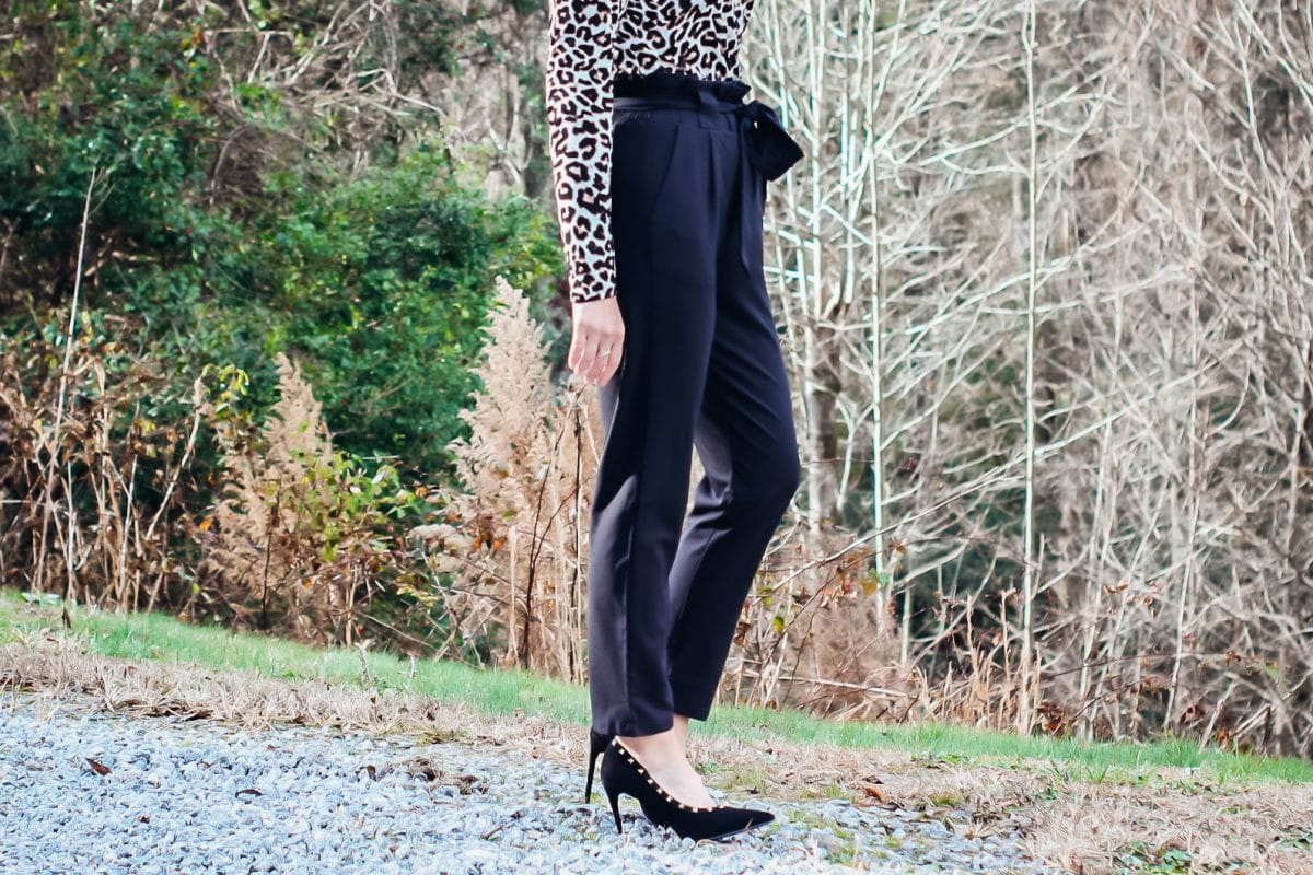 Black Paper Bag Pants with Leopard top-Laura Mintz