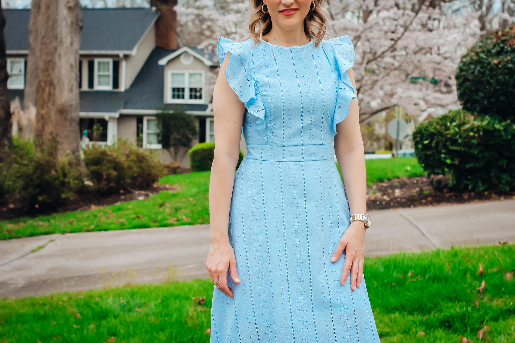 Blue Ruffle Eyelet Dress From Amazon Close Up