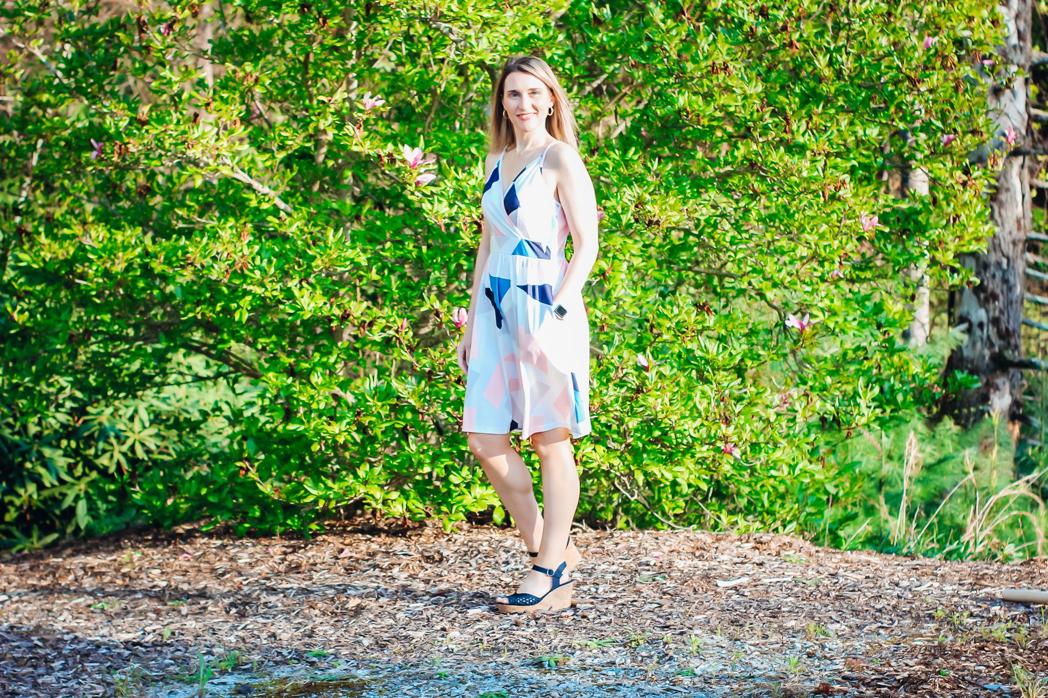 geometric print dress cute spring dress